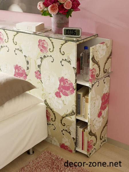 small bedroom storage ideas, bed headboard with shelves