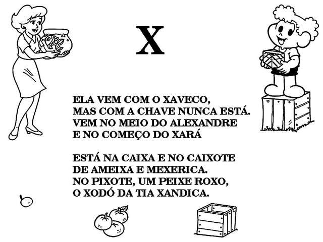 texto letra x turma da monica