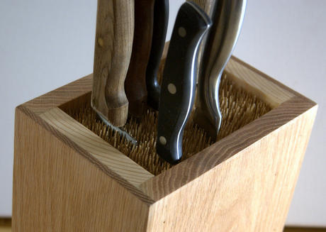 Red oak bamboo skewer knife block