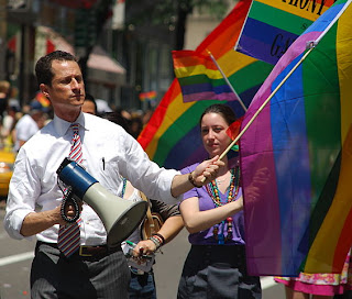 Anthony Weiner showing his support at a NYC gay parade