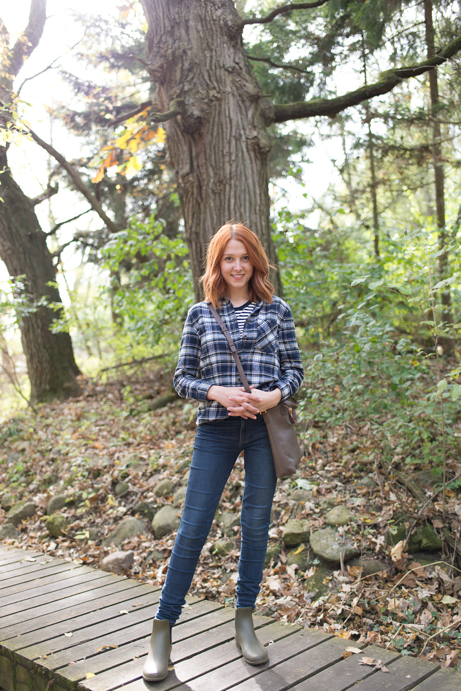 Alex Good-Beautyosaurus Lex-style-outfit-ootd-plaid-flannel-autumn-lifestyle-hike-gap denim-jeans-j.crew vest-madewell bag-crossbody purse-fall-autumn style-j.crew wellie boots