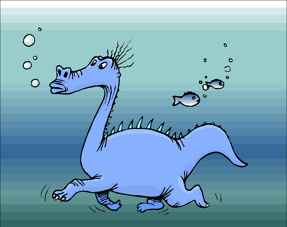 Funny Dinosaurs Swim Under Water Free Clipart