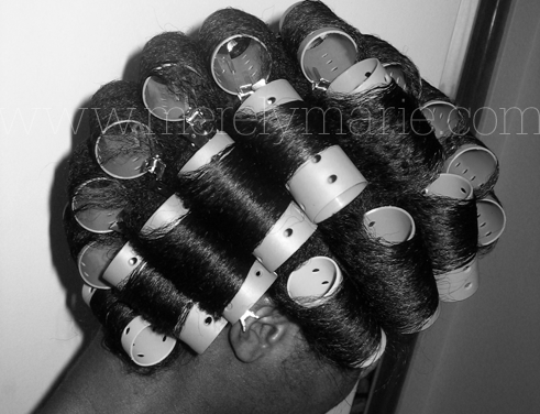 Roller Set On Relaxed Hair