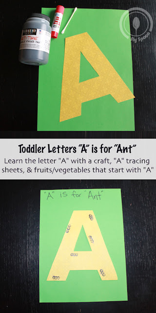 Toddler/Preshooler letter craft A is for Ant with related craft, tracing sheets and fruits/vegetables.