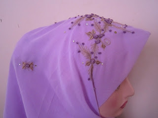 tudung bawal sulam crown light purple