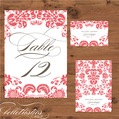 damask coral pink diy printable wedding reception table number escort place card design
