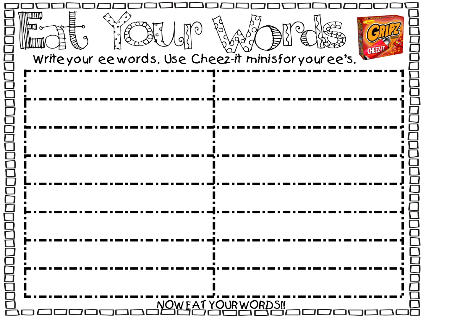 worksheet Ee Words first grade wow eat your words and if i had a fishbowl fishbowl