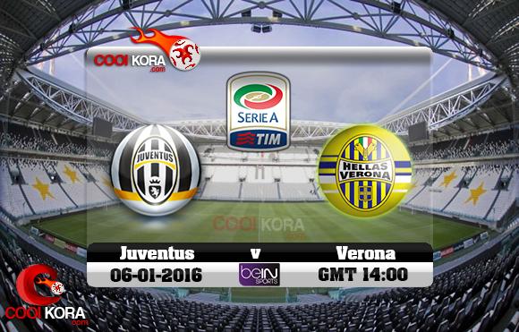 مشاهدة مباراة يوفنتوس وهيلاس فيرونا اليوم 6-1-2016 في الدوري الإيطالي