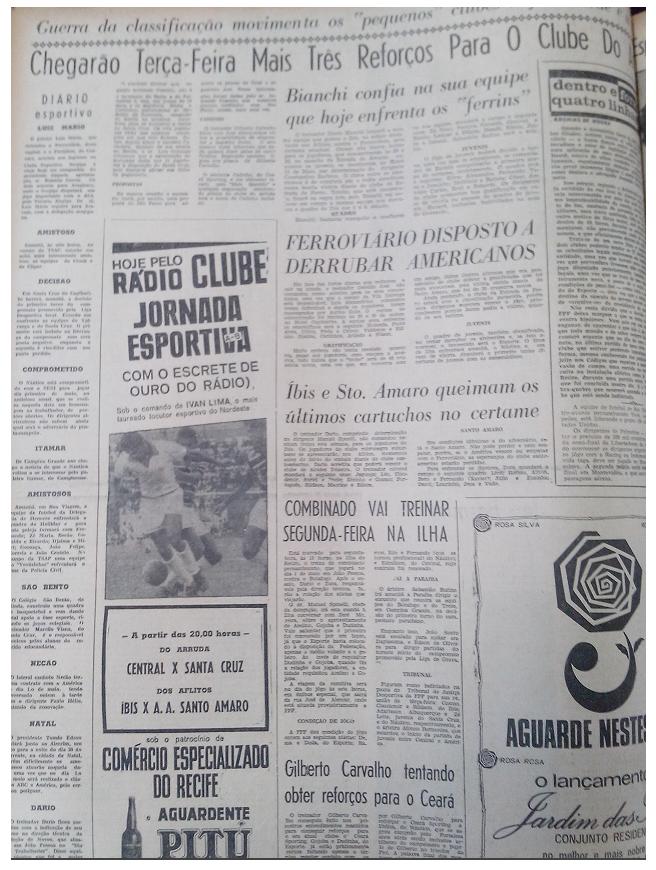 MEMÓRIAS ESMERALDINAS: América 1x0 Ferroviário do Recife em abril de 1968