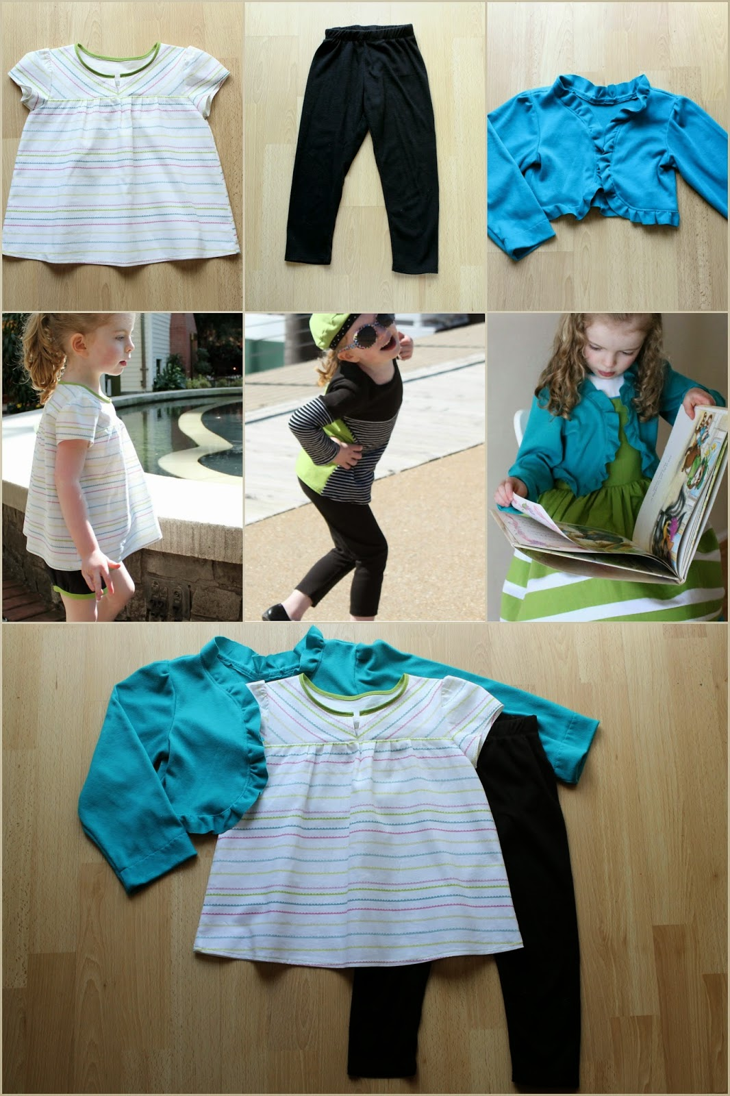 Spring Green, a mix and match collection of children's separates created throughout Project Run and Play, Season 9. | The Inspired Wren