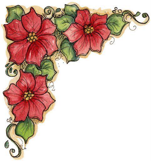 Bordes para hojas florecitas azules y rosas imagui - Imagenes flores de navidad ...