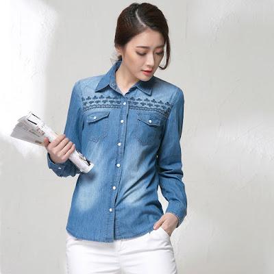 Desain Kemeja Jeans Wanita Terbaru Murah