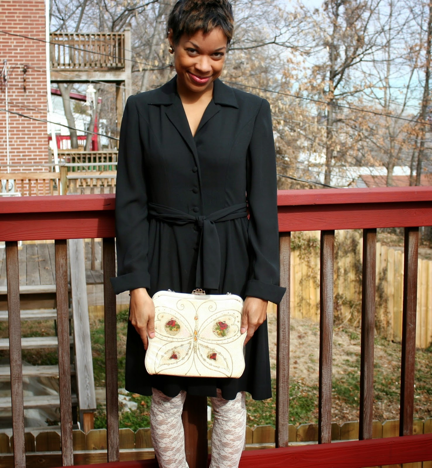 black vintage dress with vintage purse