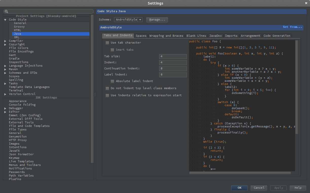 Eclipse code style profiles and IntelliJ - ImageJ