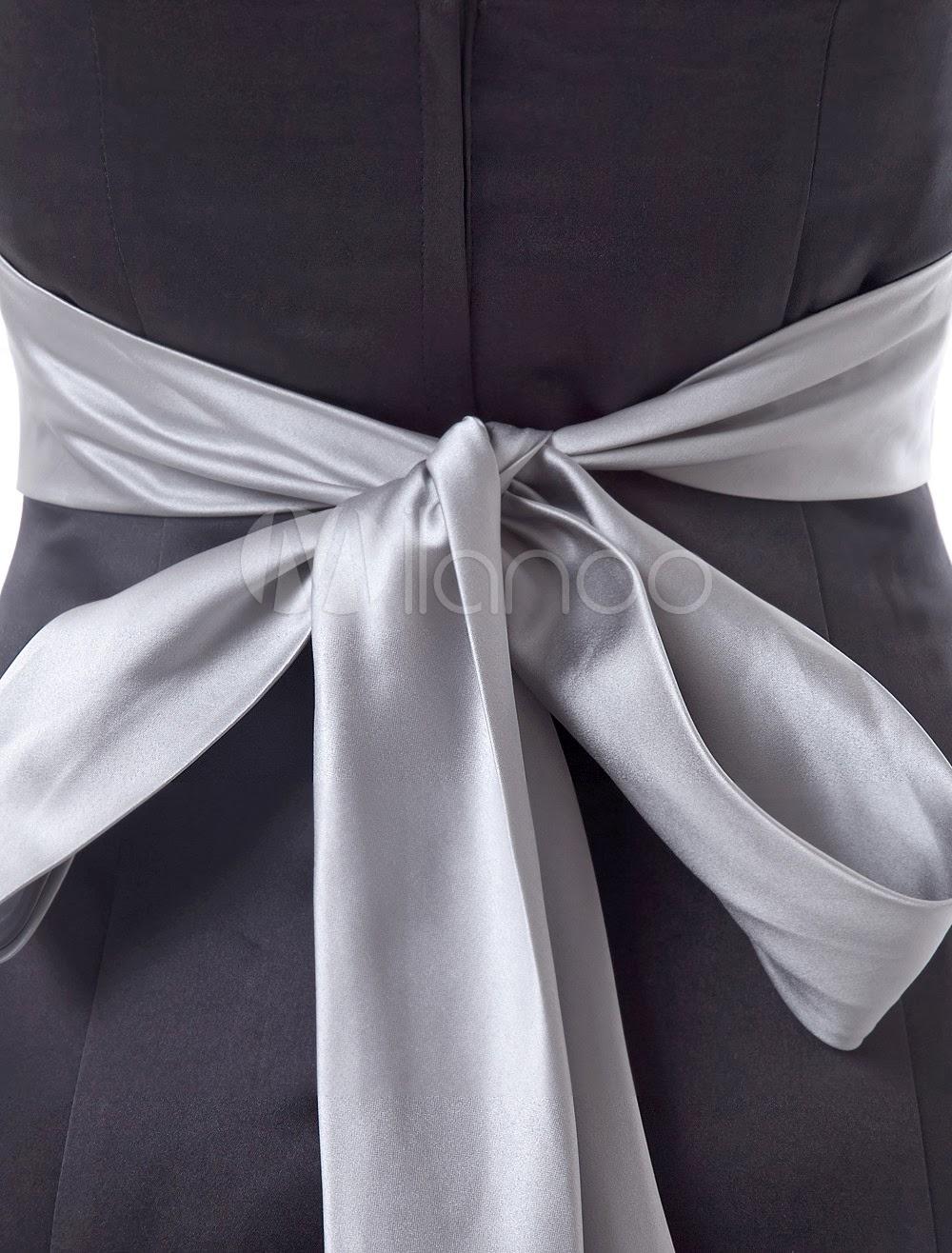 China Wholesale Dresses - Black Strapless Sweetheart Sash Floor Length Satin Bridesmaid Dress