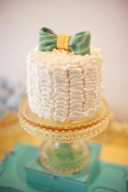 this blue bow tie ruffle cake is the perfect addition to a posh