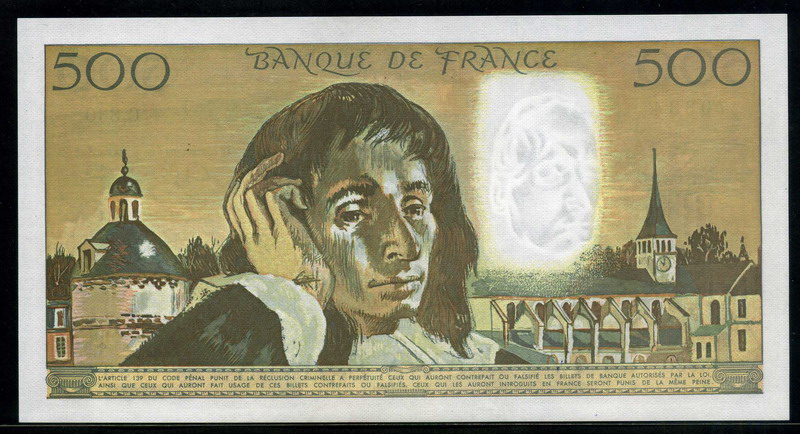 France money 500 french francs banknote of 1991 blaise for France francs