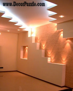 modern plaster of paris ceiling and drywall lighting ideas pop designs 2015 - Plaster Of Paris Wall Designs