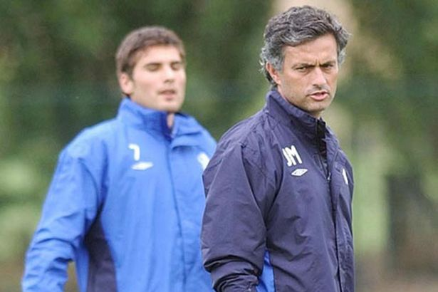 On the training ground: Jose Mourinho with Adrian Mutu worked together briefly at Chelsea before the striker was sacked for his drug use
