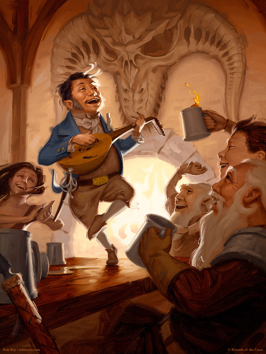 Tavern Bard by Rob Rey - robreyart.com - Dungeons & Dragons 5th edition Player's Handbook