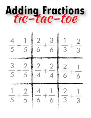 Relentlessly Fun, Deceptively Educational: Adding Fractions Tic