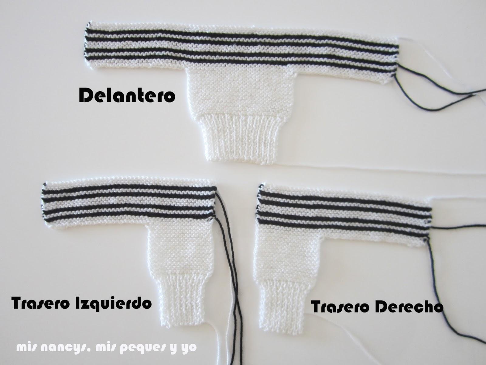 mis nancys, mis peques y yo, tutorial jersey de lana para Nancy, parte delantera, trasero izquierdo y trasero derecho