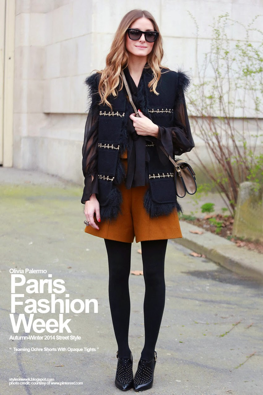Paris Fashion Week Autumn-Winter 2014 Street Style - Teaming Ochre Shorts With Opaque Tights