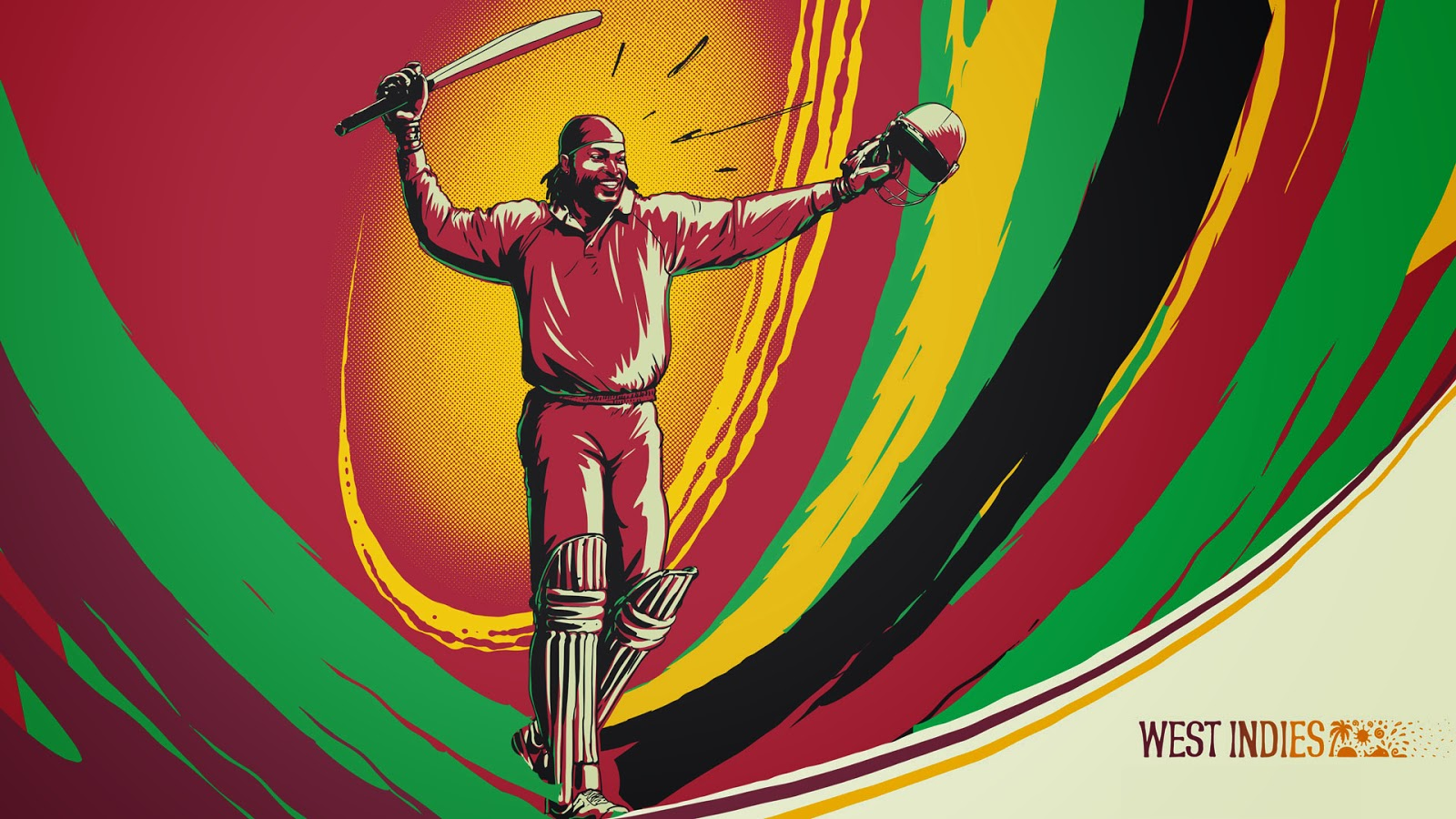 Chris Gayle West Indies Cricket Illustration Sketch