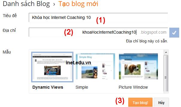 Tạo blog mới trong blogger
