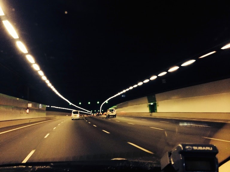 Driving in the MCE tunnel.