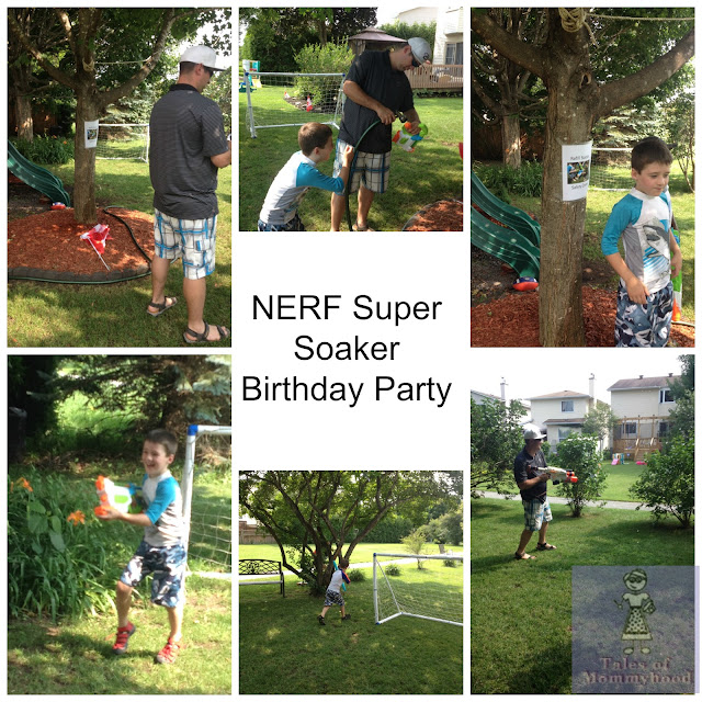 NERF super soakers, water fight birthday party, summer party, boys 8th birthday, water guns