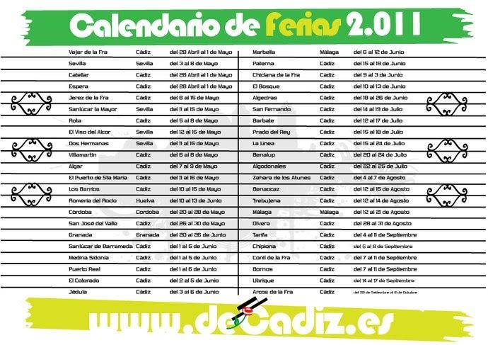 Porque no queremos calendario de ferias 2011 for Calendario ferias