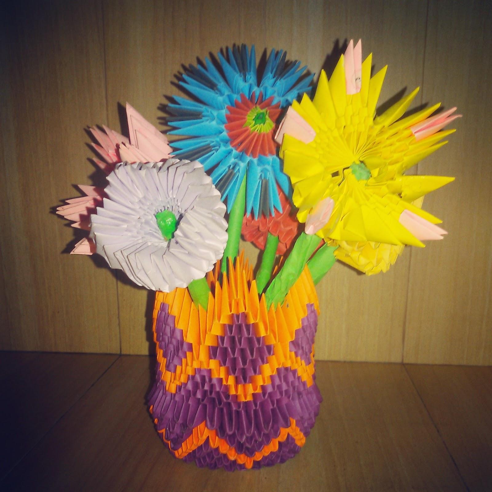 Madushis crafts 3d origami flower vase 3d origami flower vase mightylinksfo