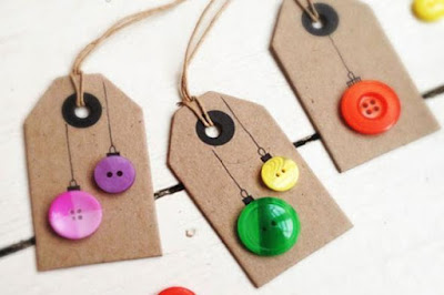 diy christmas gift tags button ornaments