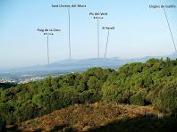 Vista de les muntanyes del Vallès des de la zona de vinyes