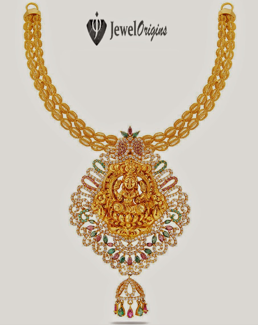 22 carat gold floral designer pendant with multiple beads chain and - 22 Carat Gold Necklace With Beautiful Goddess Lakshmi Pendant Studded With Cz Stones Rubies And Emeralds