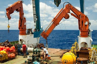 The RAPID moorings being deployed. The strength of ocean currents has been measured by a network of sensors, called the RAPID array, which have been collecting data on the flow rate of the Atlantic meridonal overturning circulation (AMOC) for a decade. (Credit: National Oceanography Centre) Click to Enlarge.