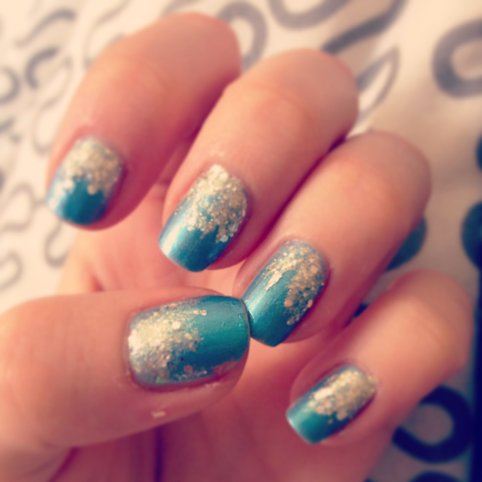Blue Silver Nail Art Frozen