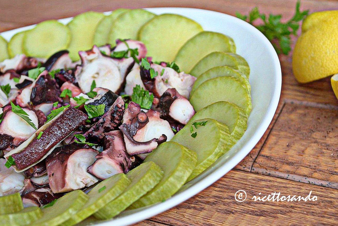 ricetta di insalata di poilpo con zucchine genovesi
