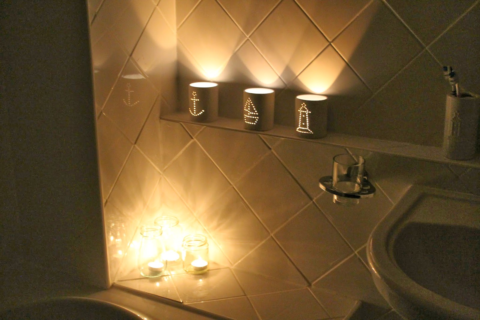 Nautical Candles shining in the bathroom