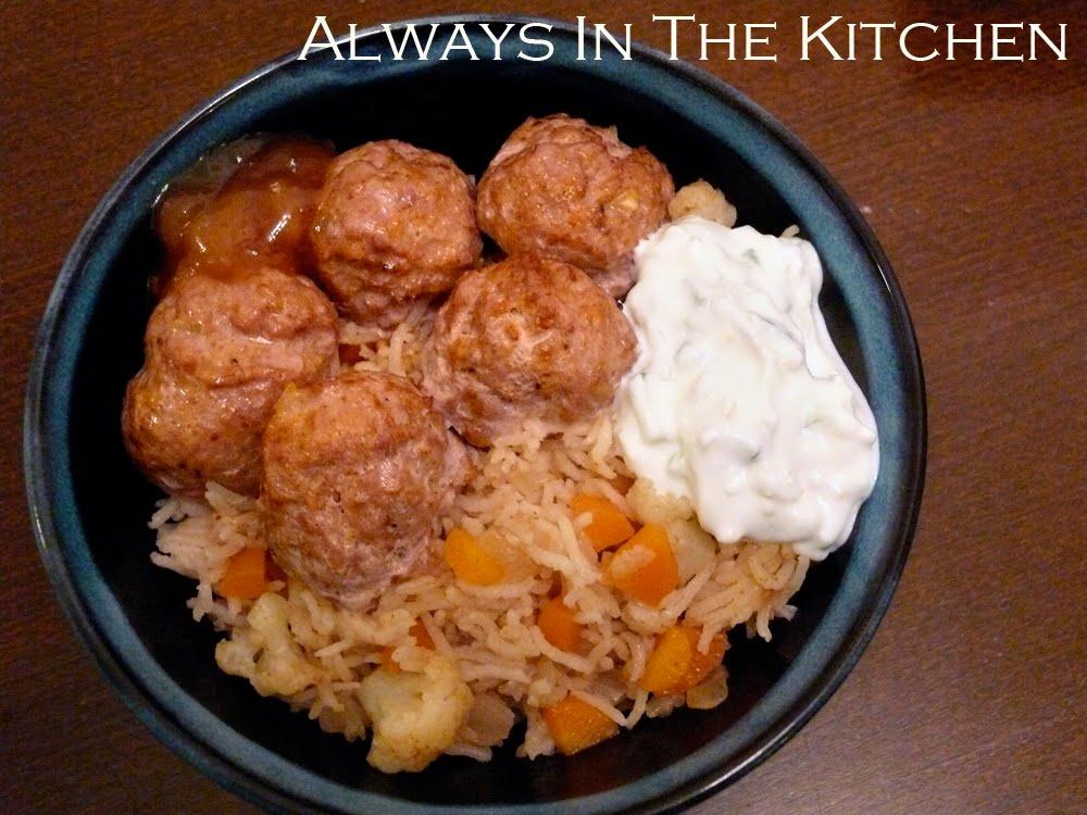 Always in the Kitchen: Tandoori Turkey Meatball Rice Bowl