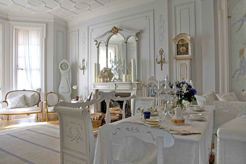 Antique White Interiors  I Heart Shabby Chic