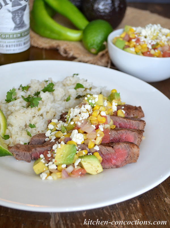 Kitchen Concoctions Grilled Steak with Corn and Green