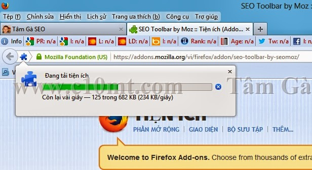 Tiện ích Seomoz Toolbar Firefox