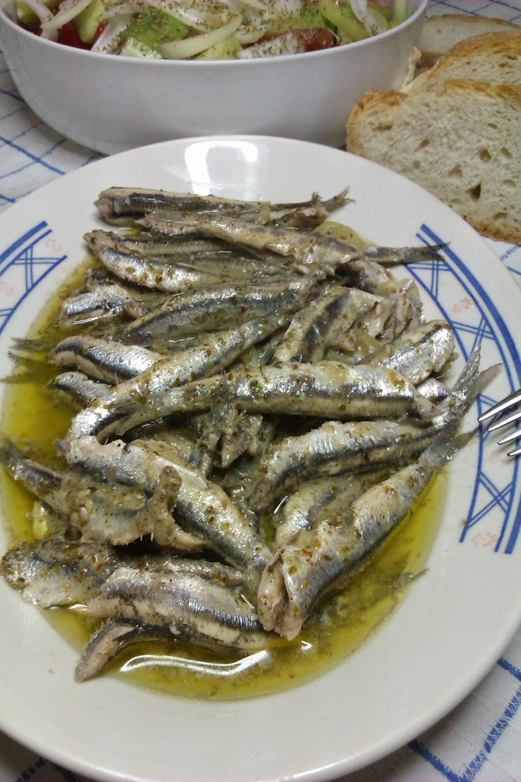Fresh Anchovies Saganaki