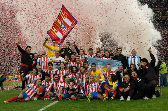 Atlético Madrid players celebrate after winning the Copa del Rey Final against Real Madrid