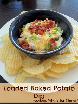 Loaded Baked Potato Dip:  A dip made with sour cream, green onions, cheese, and bacon bits.  It's like a loaded baked potato on a chip.  #footballsnack #gamedaysnack