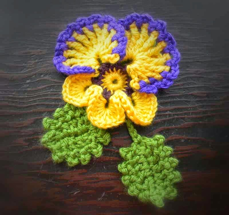 Crocheted Pansy & Leaves