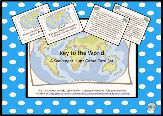 http://www.teacherspayteachers.com/Product/Key-to-the-World-Scavenger-Hunt-of-Fun-Geography-Facts-Task-Cards-1156378