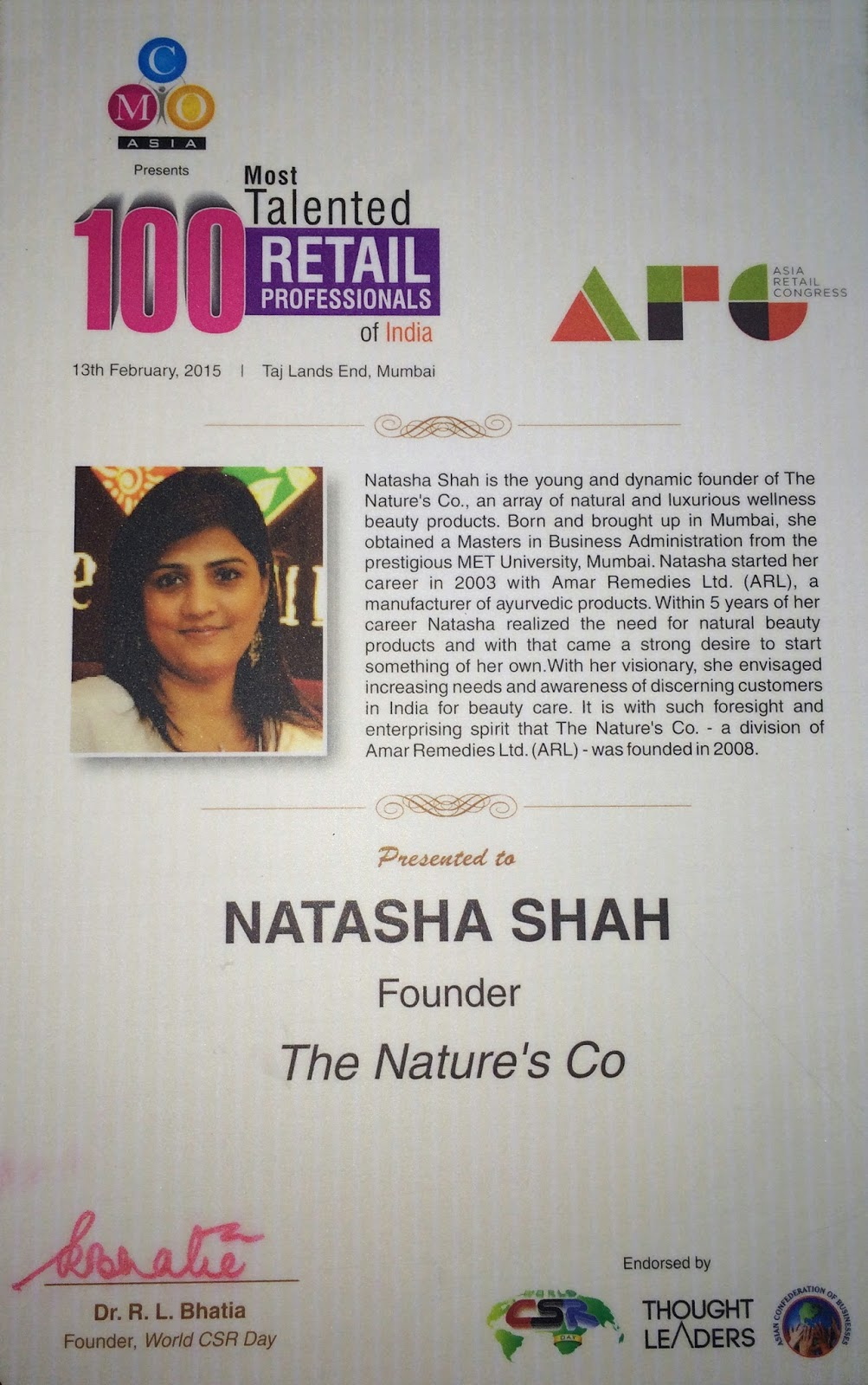 TNC's Founder and beauty expert, Natasha Shah, gets felicitated as one of the 100 Most Talented Retail Professionals of India 2015 by the Asia Retail Congress